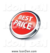 Clip Art of a Round Red and Chrome Best Price Icon by Beboy