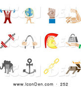Clip Art of a Set of 12 Colorful Strengh Icons of a Weightlifter, Man Carrying a Globe, Fist, Muscles, Weights, Helmet, Elephant, Anchor, Links and Deer, over a White Background by AtStockIllustration