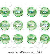 April 27th, 2013: Clip Art of a Set of 12 Green Speed Icons of Email, Runner, Super Hero, Rabbit, Jet, Bird, Race Car, Tire, Lightning Bolt, Rocket, Cheetah and Sailboat by AtStockIllustration