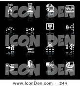 Clip Art of a Set of 16 Black and White Network Icons of a Communications Tower, Computers, Globe, Chart, Www, Connections, Wireless Router, and Cables, on a Black Background by AtStockIllustration