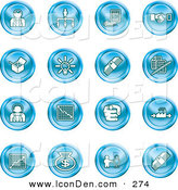 Clip Art of a Set of 16 Blue Business Icons of Business People, Management, Hand Shake, Lightbulb, Cash, Charts, and Money Bags by AtStockIllustration