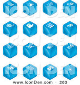 Clip Art of a Set of 16 Blue Cube Icons of a Microphone, Tv, Cam Corder, Music Notes, Film Reel, Film Camera, Polaroid Picture, Record Player, Clapboard, Sound Off, Sound On, Film, Speaker, and Guitar by AtStockIllustration