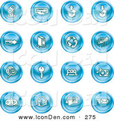 January 9th, 2013: Clip Art of a Set of 16 Blue Entertainment Icons of a Microphone, Disc, Upload, Download, Credit Card, Computer, Telephone, Spider, Searching, Key, Faq, Record Player, Controller, Home, Typing and Email by AtStockIllustration