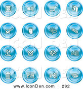 Clip Art of a Set of 16 Blue Icons of a Calendar, Cables, Shopping Cart, Camera, Check Mark, Fortress, News, Trash Can, Chart, Networking and Information by AtStockIllustration