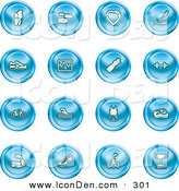 February 11th, 2013: Clip Art of a Set of 16 Blue Icons of a Knee Joint, Pills, Heart, Wheat, Shoes, Chart, Water Bottle, Weights, Bike, Swimmer, Fitness Clothes, Muscles, Lungs and Trophy by AtStockIllustration