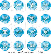 Clip Art of a Set of 16 Blue Icons of a Skull, Pistol, Poison, Scales, Magnifying Glass, Knife, Police Badge, Candlestick, Prisoner, Syringe, Sheriff Badge, Pills, Handcuffs and a Noose by AtStockIllustration