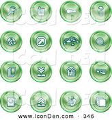 Clip Art of a Set of 16 Green Icons of a Magnifying Glass, Cash Register, Flashlight, Internet, Film, Upload, Download, Home Page, and Connectivity by AtStockIllustration