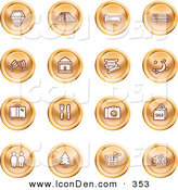 Clip Art of a Set of 16 Orange Icons of a Hotel, Road by Train Tracks, Bed, Bus, Wine Glasses, Tickets, Moon, Luggage, Diner, Camera, Shopping, Restrooms, Tree, Shopping Carts and Bicycle by AtStockIllustration