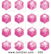 Clip Art of a Set of 16 Pink Cube Icons of Arrows, Joystick, Button, Printer, Information, Compose, Reminder, Calculator and Cubes by AtStockIllustration