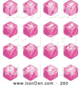 Clip Art of a Set of 16 Pink Cube Icons of Page Forward, Page Back, Upload, Download, Email, Snail Mail, Envelope, Refresh, News, Www, Home Page, and Information by AtStockIllustration