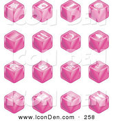 Clip Art of a Set of 16 Pink Cube Icons of Tickets, Camera, Bed, Hotel, Bus, Restaurant, Moon, Tree, Building, Shopping Bags, Shopping Cart, Bike, Wine Glasses, Luggage, Train Tracks, Road, and Restrooms by AtStockIllustration