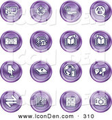 Clip Art of a Set of 16 Purple Icons of a Computer, Viewfinder, Wireless, Questions and Answer, Castle, Music, Forward, Back, Www, Mail, Math and Camera by AtStockIllustration