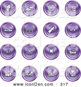 Clip Art of a Set of 16 Purple Icons of a Knee Joint, Pills, Heart, Wheat, Shoes, Chart, Water Bottle, Weights, Bike, Swimmer, Fitness Clothes, Muscles, Lungs and Trophy by AtStockIllustration