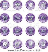 Clip Art of a Set of 16 Purple Icons of a Polaroid, News, Cubes, Padlock, Www, Search, Book, Alarm Clock, Connectivity, Messenger, Speaker, Calculator, Home, Blog and Joystick by AtStockIllustration