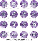 Clip Art of a Set of 16 Purple Icons of Cars, a Log, Cash, Lemon, Dealer, Ads, Key, Wrench, Engine, Handshake and Money by AtStockIllustration