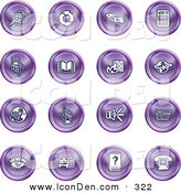 Clip Art of a Set of 16 Purple Icons of Security Symbols on a White Background by AtStockIllustration