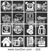 Clip Art of a Set of 16 Tiled White Icons over a Tiled Black Background by AtStockIllustration