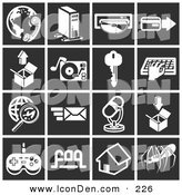 Clip Art of a Set of 16 White Business Icons over a Black Background by AtStockIllustration