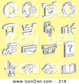 Clip Art of a Set of 16 White Icons on a Yellow Background by AtStockIllustration