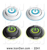 Clip Art of a Set of 4 White and Blue and Black and Green Power Buttons in on and off Positions, on a White Background by Beboy
