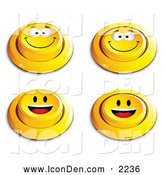 Clip Art of a Set of 4 Yellow Push Buttons with Grinning and Happy Faces by Beboy