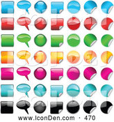 Clip Art of a Set of 49 Shiny Blue, Red, Green, Yellow, Pink, Light Blue and Black Square, Word Balloon, Oval, Peeling Square, Spiked Circle, and Peeling Circle Icons, on White by KJ Pargeter