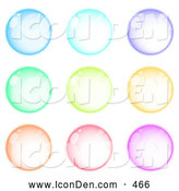 Clip Art of a Set of 9 Blue, Purple, Green, Orange, Pink and Purple Orbs by Beboy