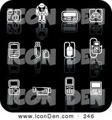 Clip Art of a Set of Black and White Gadget Icons on a Reflective Black Surface by AtStockIllustration