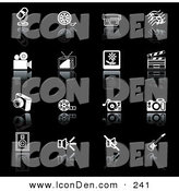 Clip Art of a Set of Black and White Media Icons on a Reflective Black Background by AtStockIllustration