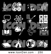 Clip Art of a Set of Black and White School Subject Icons on Black by AtStockIllustration