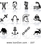 Clip Art of a Set of Black Silhouette Strengh Icons of a Weigh Tlifter, Man Holding Globe, Muscles, Weights, Helmet, Elephant, Anchor, Deer, and Links on a Solid White Background by AtStockIllustration