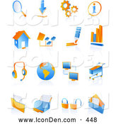 Clip Art of a Set of Blue and Orange Internet Icons on a Reflective White Background by Tonis Pan