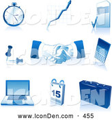 Clip Art of a Set of Blue and White Pocketwatch, Graph, Letter, Push Pins, Handshakes, Calculator, Laptop Computer, Calendar and Briefcase Icons by Tonis Pan