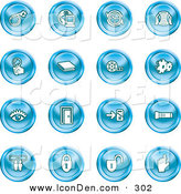 Clip Art of a Set of Blue Icons of a Bomb, Computer, Letter, Magnifying Glass, Book, Film, Cogs, Eye, Door, Flashlight, Messenger, Padlocks and Reminder by AtStockIllustration