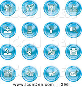 Clip Art of a Set of Blue Icons of the Www, Connectivity, Networking, Upload, Downloads, Computers, Messenger, Printing, Clapperboard and Email by AtStockIllustration