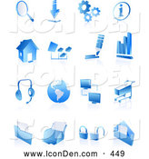 Clip Art of a Set of Blue Internet Icons on a Reflective White Background by Tonis Pan