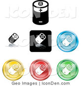 Clip Art of a Set of Different Colored Battery Button Icons by AtStockIllustration