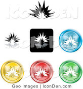 Clip Art of a Set of Different Colored Explosion Icon Buttons on White by AtStockIllustration