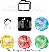 Clip Art of a Set of Different Colored File Icon Buttons on White by AtStockIllustration