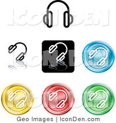 Clip Art of a Set of Different Colored Headphones Icon Buttons by AtStockIllustration