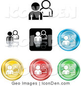 Clip Art of a Set of Different Colored People Icon Buttons by AtStockIllustration