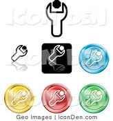 Clip Art of a Set of Different Colored Spanner Icon Buttons by AtStockIllustration