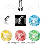 Clip Art of a Set of Different Colored Wrench Icon Buttons by AtStockIllustration