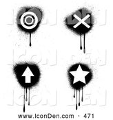 Clip Art of a Set of Four Black and White Target, X, Arrow and Star Icons with Dripping Grunge, on White by KJ Pargeter
