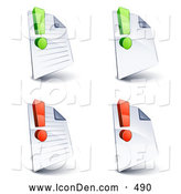November 14th, 2013: Clip Art of a Set of Four Lined and Blank Office Document Pages with Green and Red Exclamation Points, on a White Background by Beboy