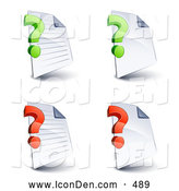 November 13th, 2013: Clip Art of a Set of Four Lined and Blank Office Document Pages with Green and Red Question Marks, on a White Background by Beboy