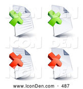 Clip Art of a Set of Four Lined and Blank Office Document Pages with Green and Red X Marks, on a White Background by Beboy