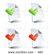 November 4th, 2013: Clip Art of a Set of Four Lined and Blank Pages with Green and Red Office Check Marks, on a White Background by Beboy