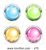 Clip Art of a Set of Four Matching Blue, Green, Orange and Pink Round Icon Buttons Circled in Chrome by Beboy