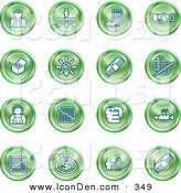 April 18th, 2013: Clip Art of a Set of Green Business Icons of Business People, Management, Hand Shake, Lightbulb, Cash, Charts, and Money Bags by AtStockIllustration